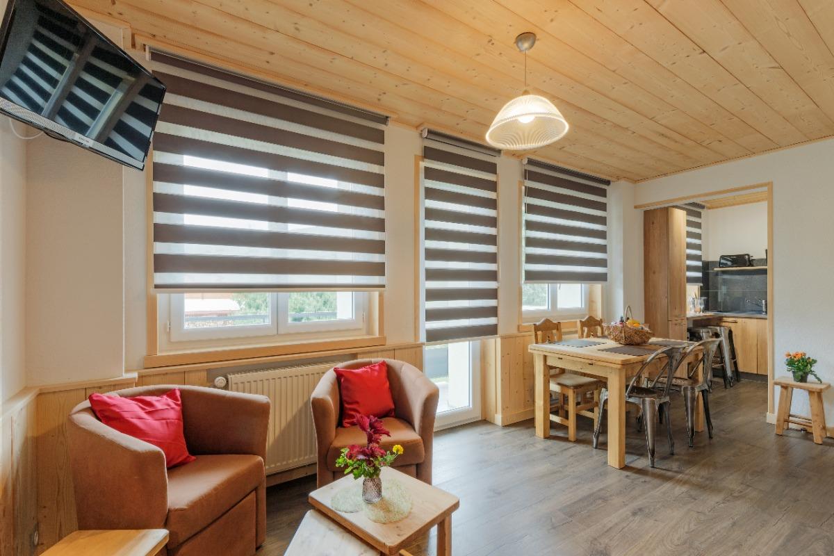 Vue sur coin salon et coin repas, cuisine - Location de vacances - Mijoux
