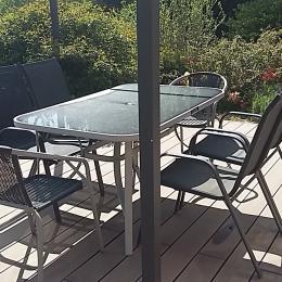 Terrasse privative amenagée avec barbecue  - Location de vacances - Lacombe