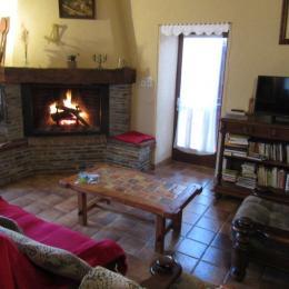 Le séjour à la Fenial : canapé et fauteuil, TV, bibliothèque. - Location de vacances - Sainte-Juliette-sur-Viaur