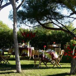 le petit déjeuner dans l'un de nos espaces  jardin  - Chambre d'hôtes - Ensuès-la-Redonne