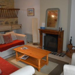 Salon cheminée Ecurie - Location de vacances - Crouay