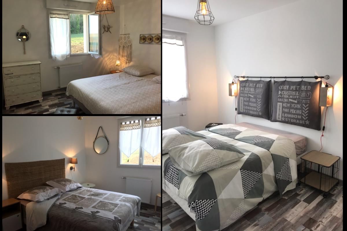les 3 chambres avec des lits doubles équipés d'une literie entièrement neuve et confortable - Location de vacances - Commes