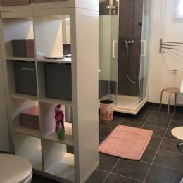 Salle d'eau équipée d'une douche, d'un miroir, d'une table à repasser, d'un sèche cheveux et d'un WC. - Location de vacances - Commes