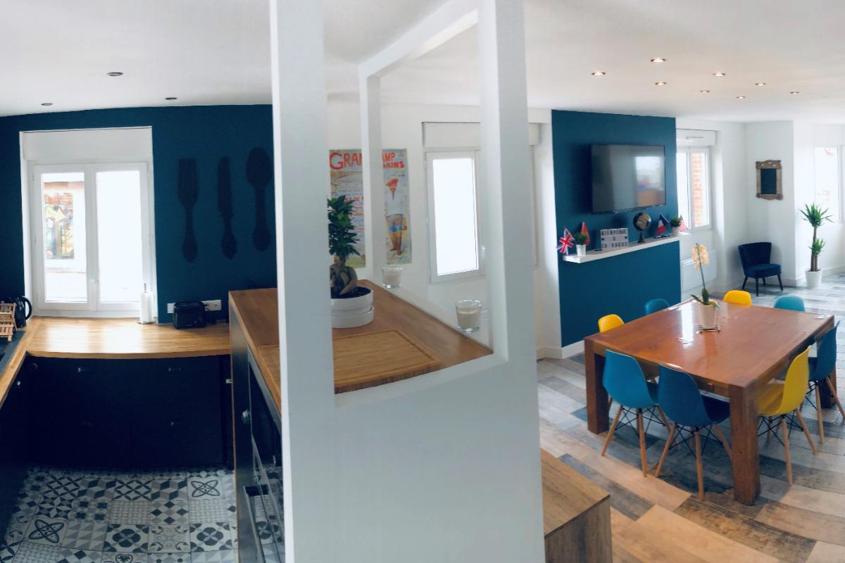 Cuisine, Salle et Salon - Location de vacances - Grandcamp-Maisy