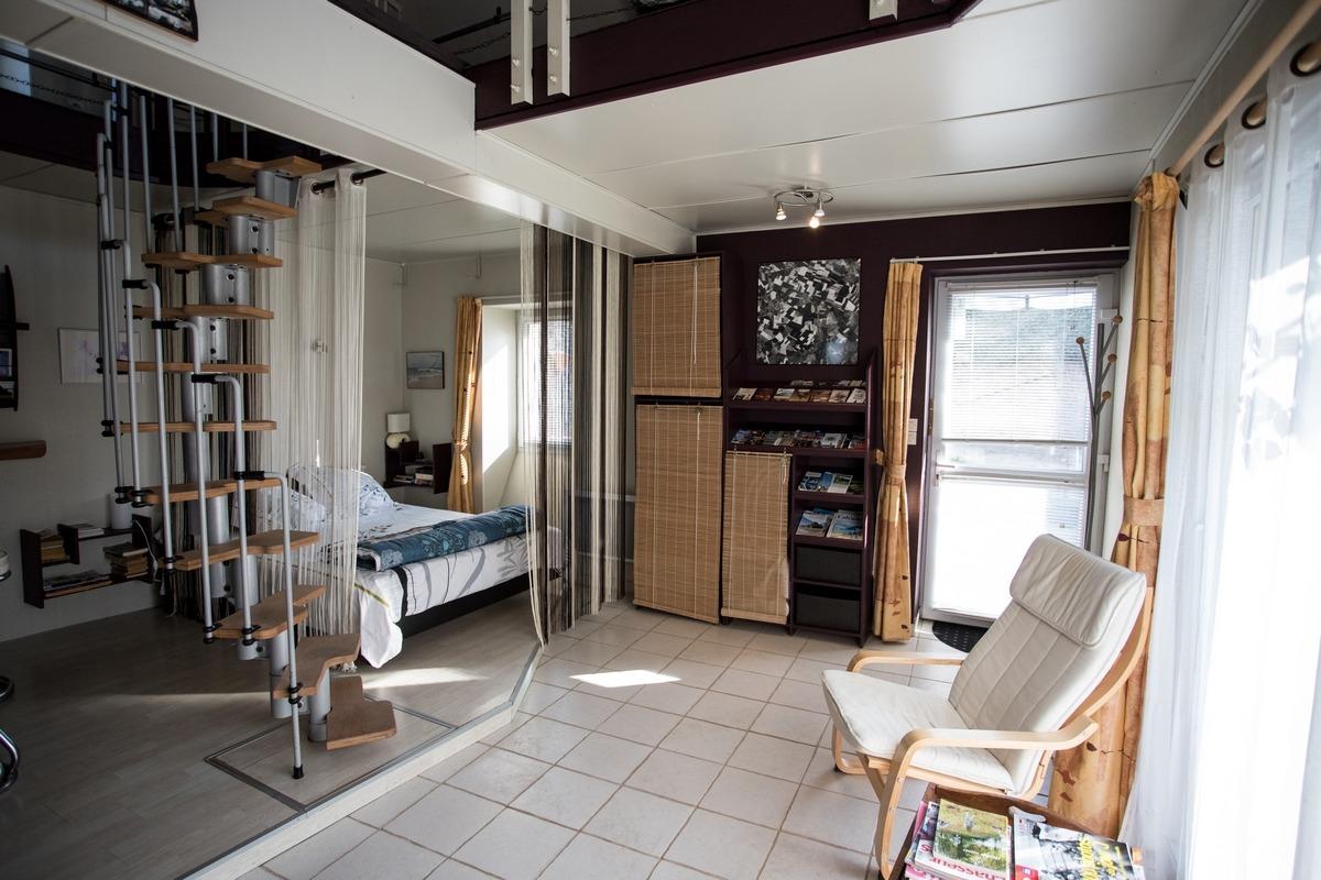 Le couchage (160/200) en rez de chaussée - Chambre d'hôtes - Périers-sur-le-Dan