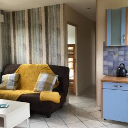 pièce principal, canapé deux personnes - Location de vacances - Saint-Côme-de-Fresné