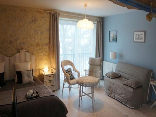 Salon de la chambre le Courlis B&B les oiseaux de passage Isigny-sur-mer - Chambre d'hôtes - Isigny-sur-Mer