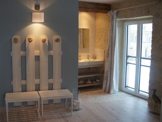 Salle de bain le Courlis - ambiance bord de mer à Isigny sur mer - Chambre d'hôtes - Isigny-sur-Mer