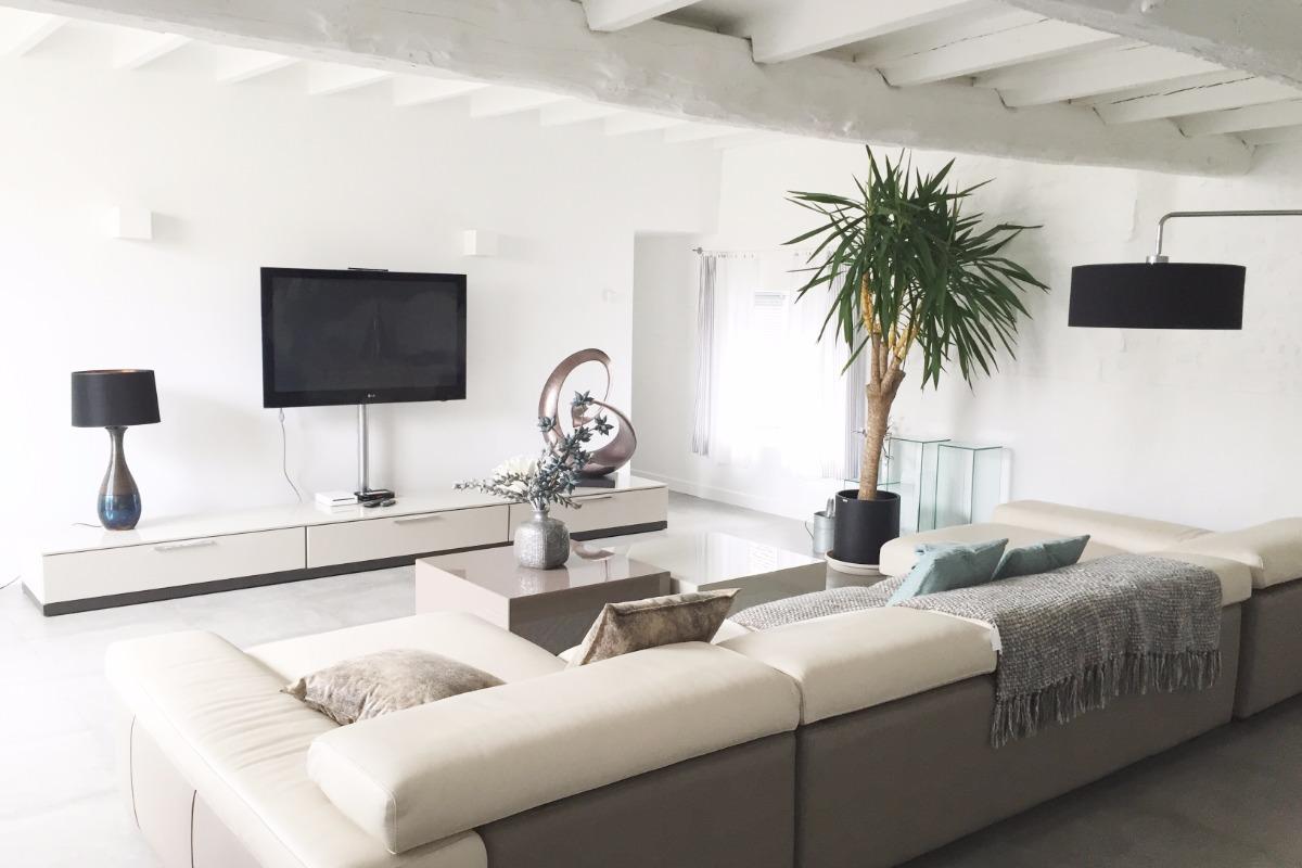Salon avec grand canapé  - Location de vacances - Aigrefeuille-d'Aunis