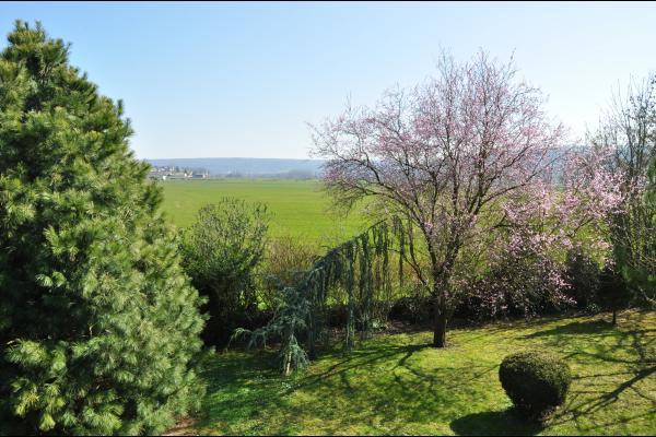 Vue sur la vallée depuis le jardin paysager - Location de vacances -