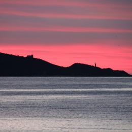 vue coucher de soleil depuis la résidence. - Location de vacances - Saint-Florent