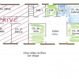 Plan du 1er étage - Chambre d'hôtes - Santa-Maria-di-Lota