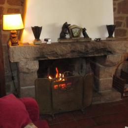 Location Plougrescant, l'espace salon et son petit feu chaleureux en période automne-hiver - Location de vacances - Plougrescant