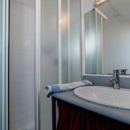 salle d'eau douche, vasque, lave-linge, WC, Vélux - Location de vacances - Trévou-Tréguignec