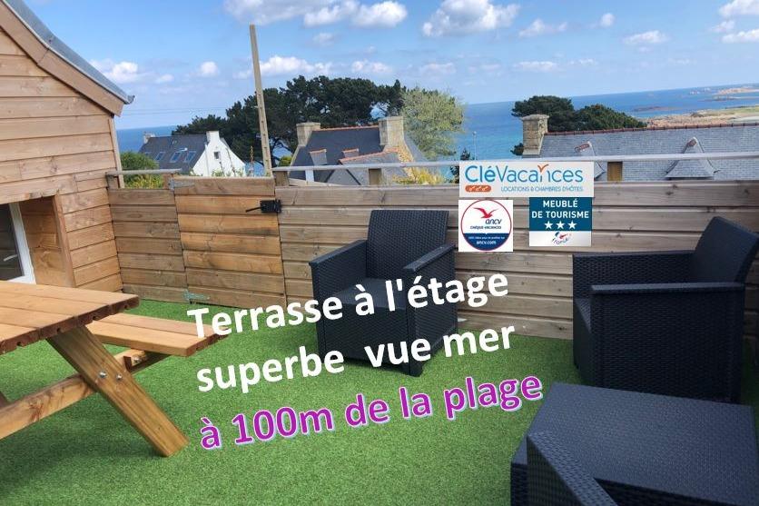 pièce de vie, espace repas, espace salon-TV - Location de vacances - Trévou-Tréguignec
