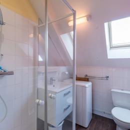 salle d'eau avec douche, vasque, lave-linge et WC - Location de vacances - Trévou-Tréguignec