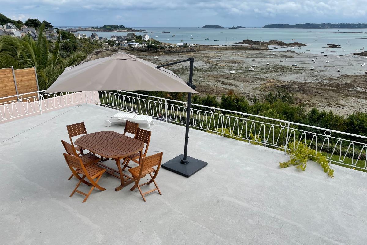 Collin, Clévacances, location Pors Even-Ploubazlanec, vue panoramique sur la mer depuis la terrasse - Location de vacances - Ploubazlanec