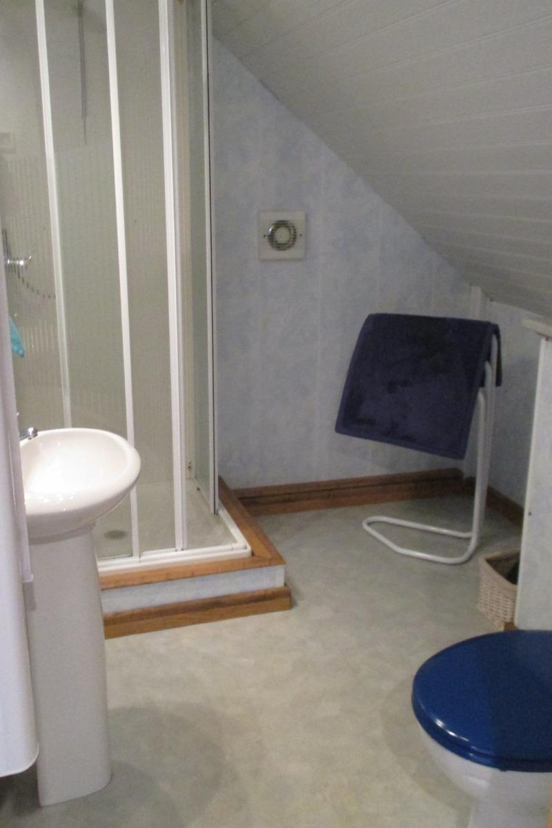 salle d'eau avec cabine de douche et WC - Location de vacances - Louargat