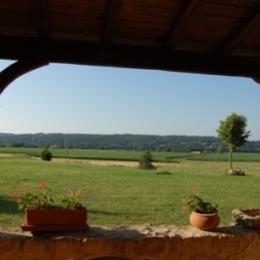 Vue depuis la terrasse pour les petits-déjeuners ou/et les dîners - Chambre d'hôtes - Saint-Agne