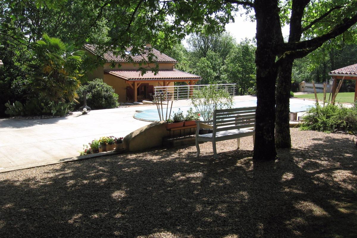 plan sur le bleu de la piscine et du gite - Location de vacances - Chourgnac