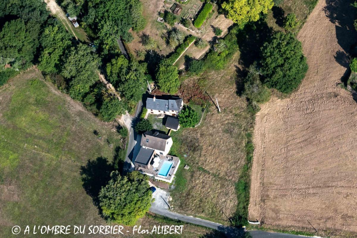 Vue aérienne A l'Ombre du Sorbier  - Location de vacances - Terrasson