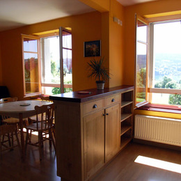 Séjour et cuisine, vue sur le lac St Point - Location de vacances - Les Grangettes