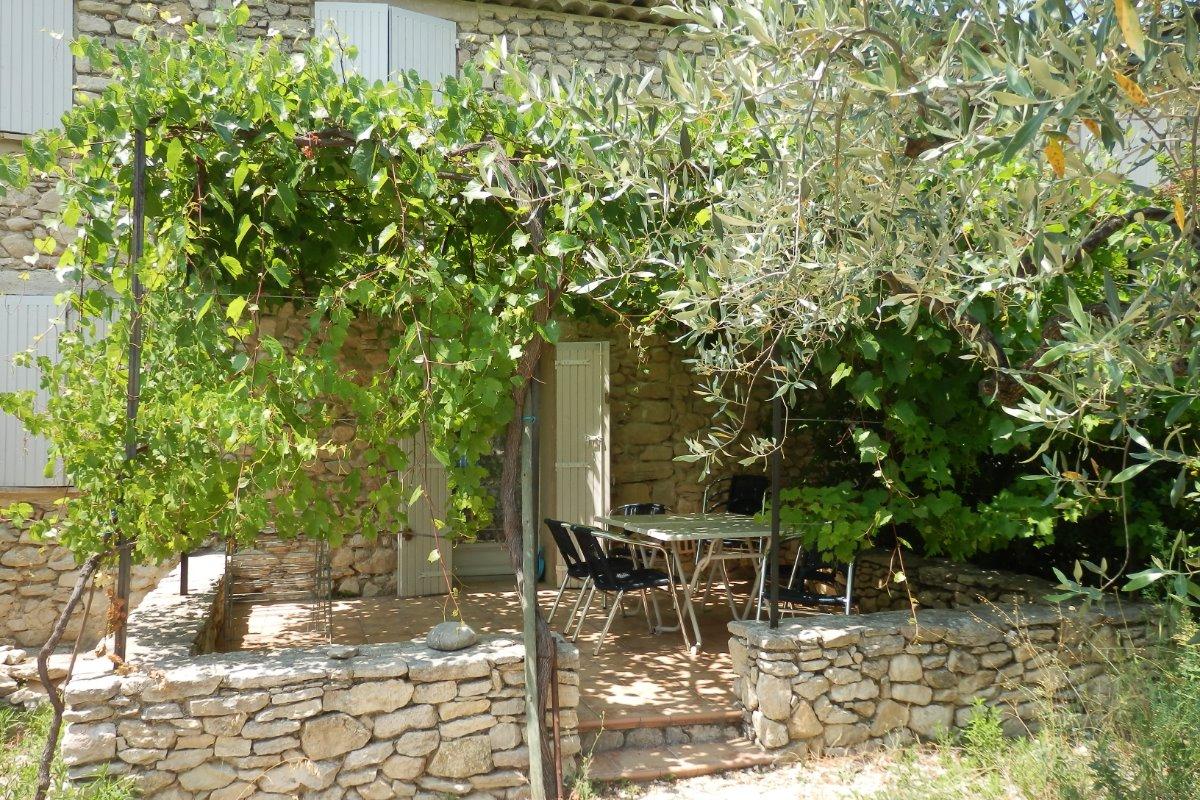 Terrasse ombragée par treille de vignes - Location de vacances - Mirabel-aux-Baronnies