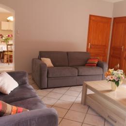 espace cuisine salon - Location de vacances - Saint-Barthélemy-de-Vals