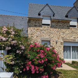 façade sud , jardin clos, fleuri, terrasse... - Location de vacances - Saint-Pabu