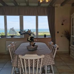 vue panoramique sur la mer, avec l'ile Callot et le ferries au fond  - Location de vacances - Carantec