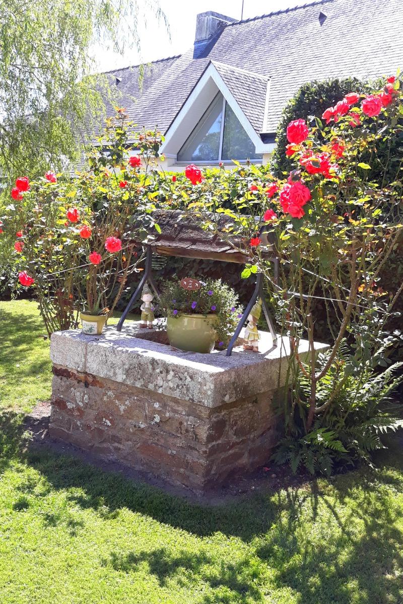 Jardin arboré et fleuri avec puits en pierre - Location de vacances - Rédené