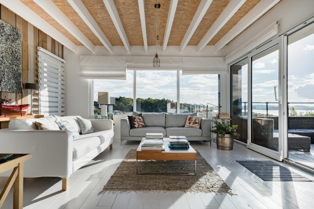 salon avec terrasse panoramique - Location de vacances - Santec