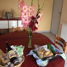 panier de bienvenus légumes du jardin et produits du terroirs  - Location de vacances - Guiler-sur-Goyen