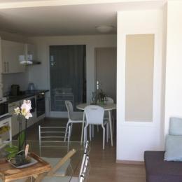 Coin salon avec canapé convertible - Location de vacances - Plomodiern