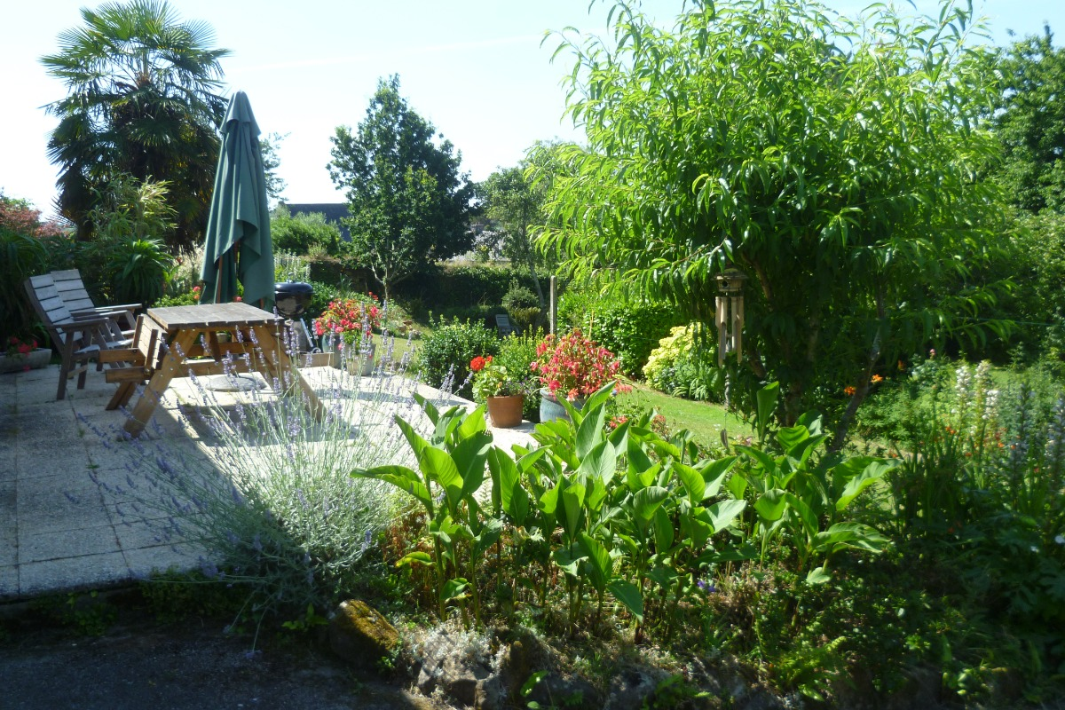 terrasse et grand jardin fleuri et paysagé - Location de vacances - Daoulas