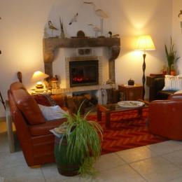 Espace salon avec cheminée au RDC de la maison - Chambre d'hôtes - Plougasnou