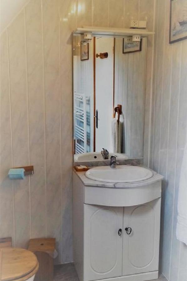 Salle de bain avec WC privative à la chambre Les Mésanges - Chambre d'hôtes - Huelgoat