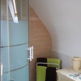 salle d'eau avec WC communicante à la chambre Les Fleurs - Chambre d'hôtes - Huelgoat