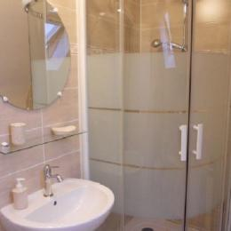 salle d'eau privative et communicante à la chambre Les Fleurs avec WC - Chambre d'hôtes - Huelgoat