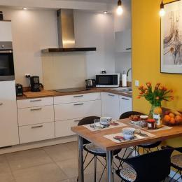 pièce avec lit superposé 2 personnes (séparée par un rideau de la pièce de vie) - Location de vacances - Bénodet