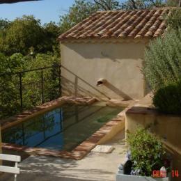 Vue piscine bassin romain depuis terrasse ombragée - Location de vacances - Rochefort-du-Gard