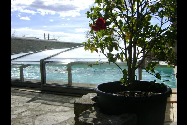 baignade bien à l'abri, piscine 4,50 x 9 chauffée,de début avril à fin octobre. - Location de vacances - Saint-Privat-de-Champclos