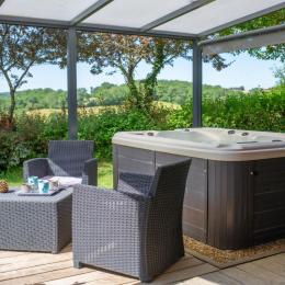 Séjour donnant sur la terrasse - Canapé-lit BZ - Location de vacances - Peyrusse-Grande