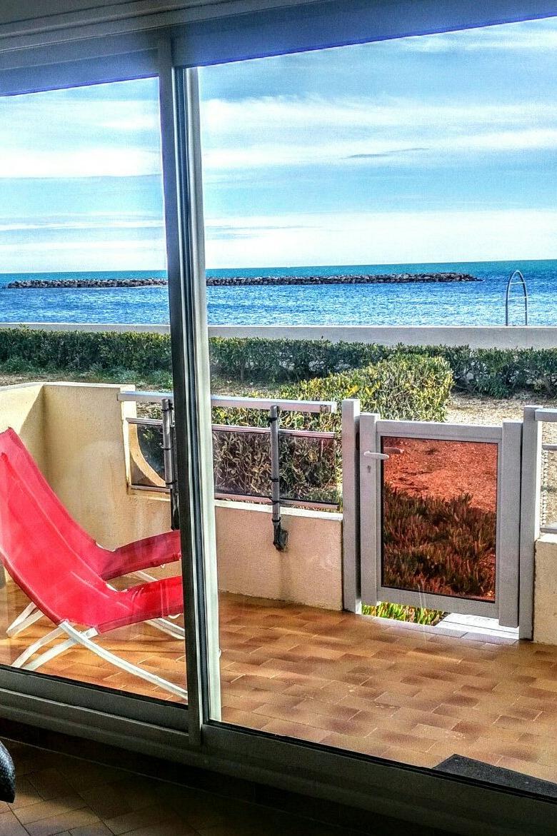Vue de la terrasse. Fauteuils relax toute l'année. - Location de vacances - PALAVAS-LES-FLOTS