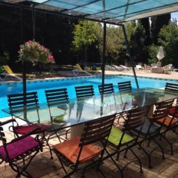 Terrasse ombragée au bord de la piscine - Location de vacances - Béziers