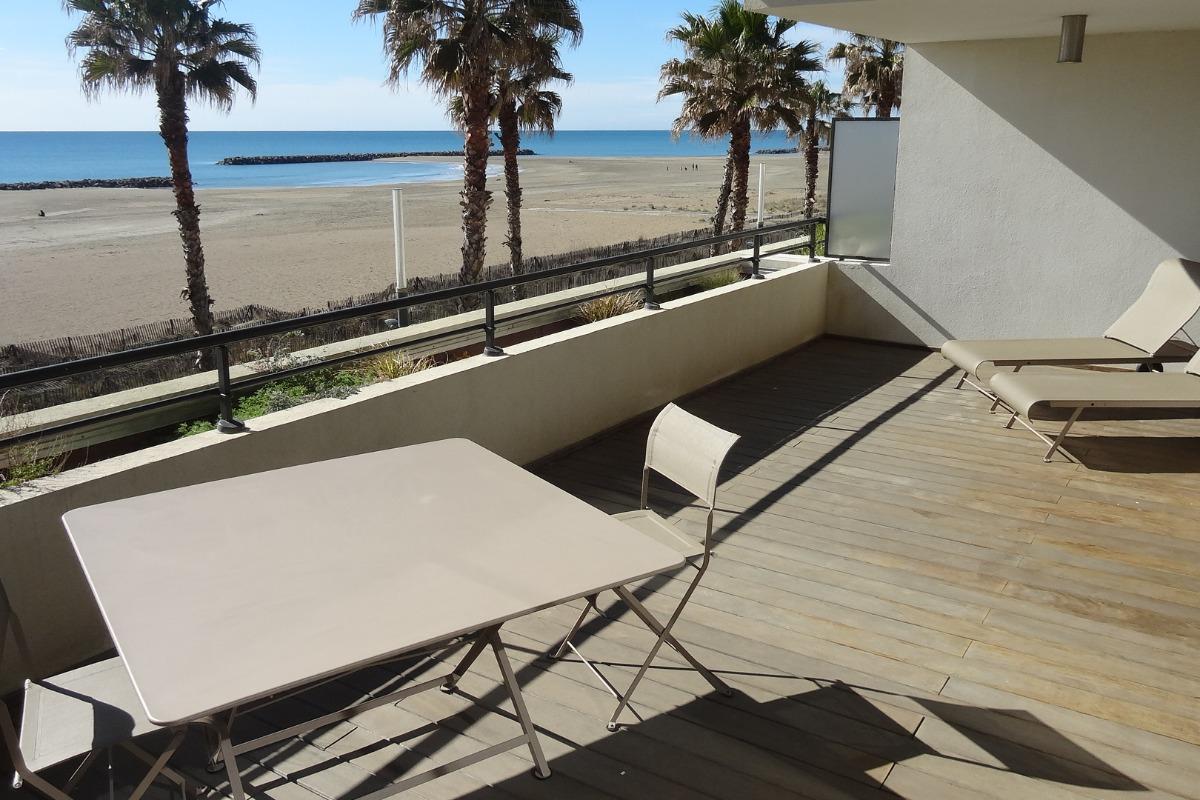Terrasse vue plage et mer  - Location de vacances - Sète