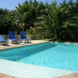 Piscine privée sécurisée avec bains de soleil - Location de vacances - Marseillan