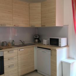 Grande cuisine indépendante, bien équipée, donnant accès à un grand balcon  - Location de vacances - AGDE