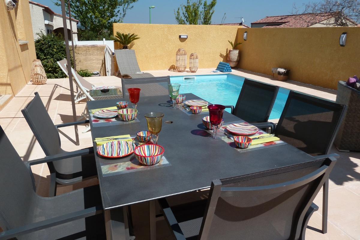 Petit déjeuner au bord de la piscine  - Chambre d'hôtes - MEZE