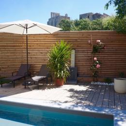 Espace terrasse et piscine - Chambre d'hôtes - Montbazin